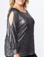 Roz & Ali Cold Shoulder Metallic Knit Top - Plus - 5