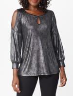 Roz & Ali Cold Shoulder Metallic Knit Top - 5