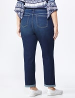 Plus Westport Signature Girlfriend/Boyfriend 5 Pocket Jean with Double Rolled Cuff - Plus - Dark Wash - Back