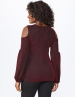 Roz & Ali Sparkle Knot Center Knit Top - Misses - Red/Black - Back