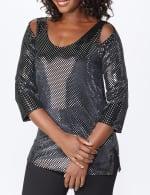 Roz & Ali Velvet Shimmer Dot Tunic Knit Top - 4