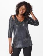 Roz & Ali Velvet Shimmer Dot Tunic Knit Top - 5