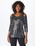 Roz & Ali Velvet Shimmer Dot Tunic Knit Top - Black - Front