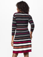 Stripe Fit and Flare Sweater Dress - Black/Ivory/Wine - Back