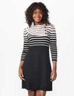 Split Cowl Sweater Dress - Misses - Beige/Black - Front