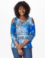 Westport Tie Dye Knit Top - Blue - Front