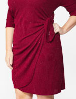 Glitter Knit Wrap Dress  - Plus - 11