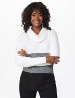 Westport Colorblock Cowl Neck Curved Hem Sweater - 7
