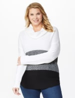 Westport Colorblock Cowl Neck Curved Hem Sweater - Plus - 6