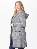 Roz & Ali Houndstooth Sweater Coat - Plus - 4