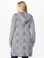 Roz & Ali Houndstooth Sweater Coat - Plus - Black/Grey - Back