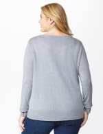 Roz & Ali Sparkle Pullover Sweater - Plus - Heather Grey - Back