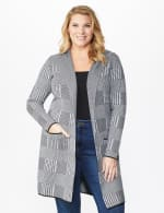 Roz & Ali Houndstooth Sweater Coat - Plus - Black/Grey - Front