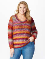 Roz & Ali Ombre Pullover Sweater - Plus - Multi - Front