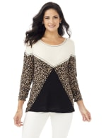 Mixed Animal Thermal Print Knit Top - Oatmeal - Front