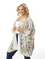 Palm Print Lace Kimono - Plus - 4