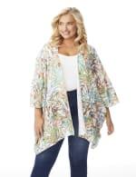 Palm Print Lace Kimono - Plus - 6