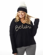 Roz & Ali Lurex Believe Hoodie Sweater - Plus - 3