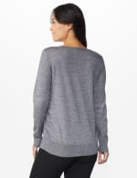 Roz & Ali Side Ruched Curved Hem Sweater - Black/White - Back