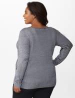 Roz & Ali Side Ruched Curved Hem Sweater - Plus - Black/White - Back