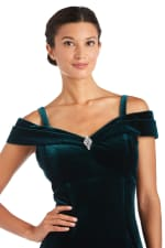Long Stretch Velvet Off the Shoulder Gown - Hunter Green - Detail