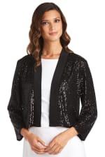 Short Sequin Jacket - Black - Front