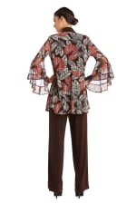 Two Piece Puff Print Pant Suit - Brown - Back