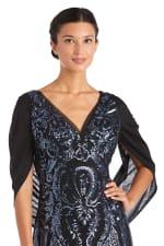 Long Beaded Empire Waist Evening Gown - 3