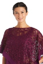 Faux Two-Piece Pant Set with Metallic Asymmetric Poncho - Mulberry - Detail
