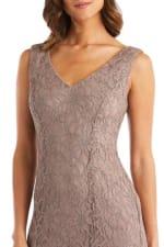 Long Lace Dress with Sheer Chiffon Poncho - 5
