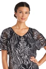 Two-Tone Sequin Butterfly Sleeve Top - 3