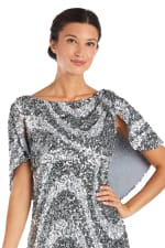 Flutter Capelet Wave Sequin Dress - Silver / Black - Detail
