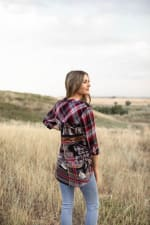 Plaid and Floral Mix Button Front Shirt - Red/Black - Back