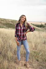 Plaid and Floral Mix Button Front Shirt - 5