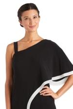 One Shoulder Drape Panel Jumpsuit With Contrast Detail - 3