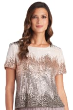 One Piece Chevron Sequin Short Sleeve Top - Champagne - Front
