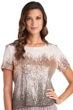 One Piece Chevron Sequin Short Sleeve Top - Champagne - Detail