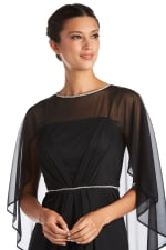 Long Matte Rhinestone Chiffon Dress - Black - Detail