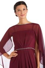 Long Matte Rhinestone Chiffon Dress - 6