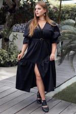 Peony V-Neck Midi Dress - Plus - Black - Back