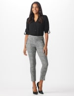 Ankle Pant with Faux Leather Trim on Pockets - 6