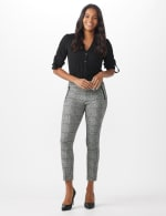Ankle Pant with Faux Leather Trim on Pockets - 7