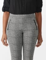 Ankle Pant with Faux Leather Trim on Pockets - 5