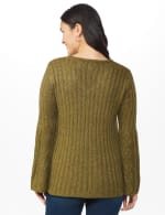 Westport Novelty Yarn Stitch Interest Sweater - Moss - Back
