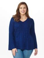 Westport Novelty Yarn Stitch Interest Sweater - Plus - 12