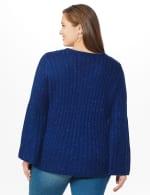 Westport Novelty Yarn Stitch Interest Sweater - Plus - Maritime - Back