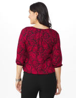Roz & Ali Red Floral Bubble Hem Blouse-Petite - Red/Black - Back