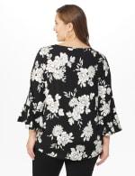 Roz & Ali Gold Foil Floral Knit Top - Plus - Black - Back