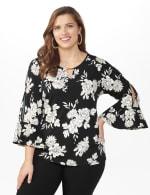 Roz & Ali Gold Foil Floral Knit Top - Plus - Black - Front