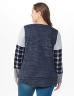 Westport Plaid Cuff Hacci Sweater Knit Top - Plus - Navy Heather - Back